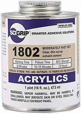 IPS Weld-On #1802 Plastic Solvent Cement for Acrylic, ABS, PVC,+ - Pint (16 oz)