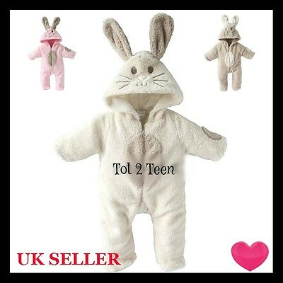 Baby Newborn Cute GIFT White Brown Pink Bunny Rabbit Fluffy Fleece Romper Outfit