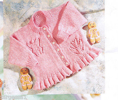 Knitting Pattern Baby Girls Butterfly Cardigan Fits 0 6 Years In