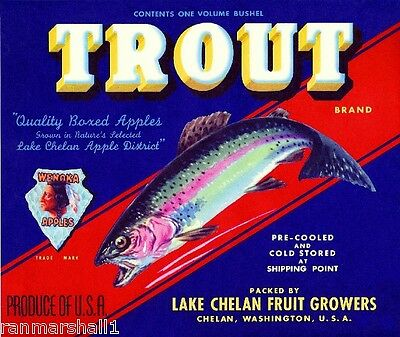 Lake Chelan Washington Trout Apple Fruit Crate Label Art Print