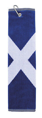 New Masters Scotland Flag Saltire trifold golf towel clips to bag