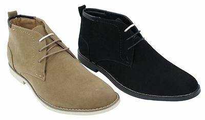 Mens Suede Leather Desert Boots Camel Tan Brown Black Shoes