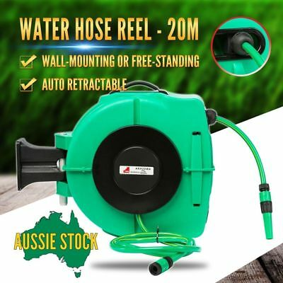 20m Water Hose Reel Retractable, Wall Mount Bracket Garden Watering Rewind Tool