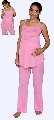 NEW Maternity Nursing Bra Pink Pajama Night Gown Breastfeeding Set Lace S M L X