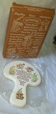 """Vintage  """"AVON"""" Spoonrest or Wall Hanging TYPES OF MUSHROOMS Hand Painted"""