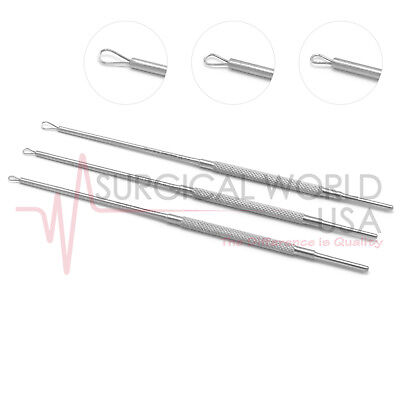 """3 Billeau Ear Loop Small #1 Medium #2 Large #3 6.50"""" ENT Surgical Instruments"""