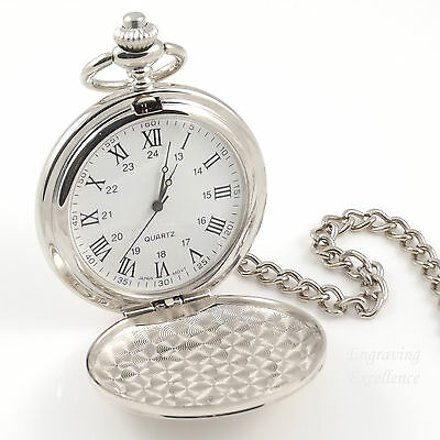 Personalised Engraved Silver Pocket Watch Best Man Usher Birthday Wedding Gift