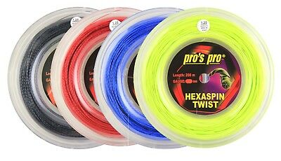 Pro's Pro Hexaspin Twist - Tennis String  Reel 200m Different Size - Free UK P&P
