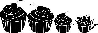 Cupcake Family of 4 with cat- Vinyl Cutout for your Car Window in Glossy White