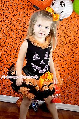 HALLOWEEN Black Top Sparkle Pumpkin Face Print Orange Black Trim Girl Skirt 1-8Y