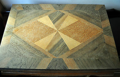 Antique Vintage Old Art Deco Wooden Cutlery Case Box Parquetry Marquetry Inlay