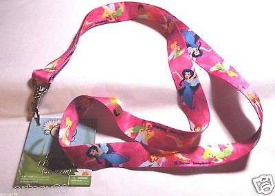 """TINKER BELL DISNEY PINK LANYARD NECKLACE KEY CHAIN RING PASS TICKET 18"""" FAIRIES"""