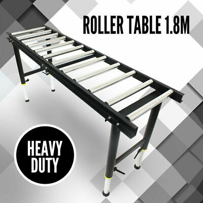 1.8m Roller Top Table, 12 Roller Heavy Duty Work Support Conveyor Adjustable Leg