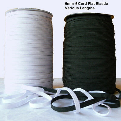 6mm 6 Cord Flat Elastic Spandex Trimming Black or White Various Lengths UK Grade