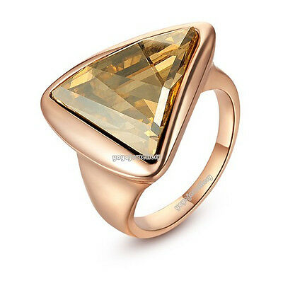 18k champagne gold plated triangle special party ring R549