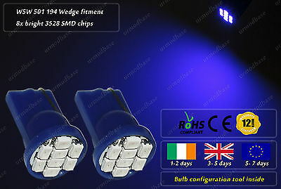 2x T10 W5W 501 LED Blue Wedge Side Lights Parking Bulbs Interior Dome Lamps 12v
