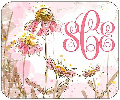 Mouse Pad Custom Monogrammed Thick Mousepad - Pink Flowers