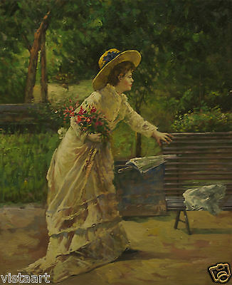 """High Quality Hand Painted Oil On Stretched Canvas 20""""x24"""" Woman in Park"""