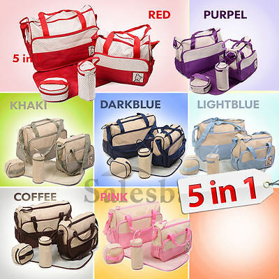 5IN1 Multi Baby Diaper Nappy Changing Bag RED,PURPEL,DKHAKI,DARKBLUE,LIGHTBLUE