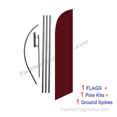 Solid Burgundy 15' Feather Banner Swooper Flag Kit with pole+spike