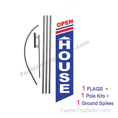 Open House (rwb) 15' Feather Banner Swooper Flag Kit with pole+spike