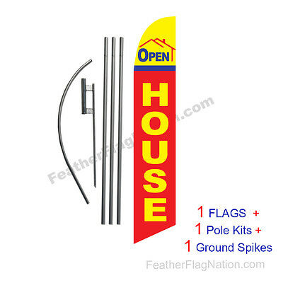 Open House (ybr) 15' Feather Banner Swooper Flag Kit with pole+spike