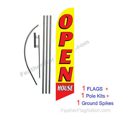 Open House (yellow) 15' Feather Banner Swooper Flag Kit with pole+spike
