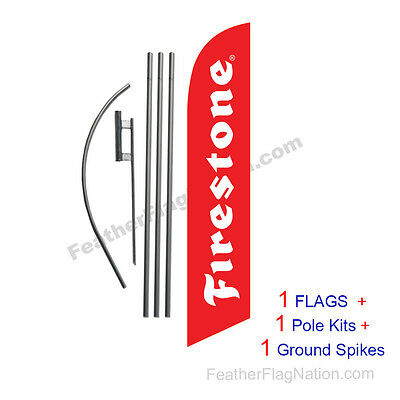 Firestone Tires 15' Feather Banner Swooper Flag Kit with pole+spike