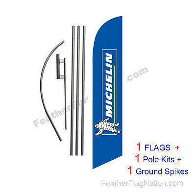 Michelin Tires 15' Feather Banner Swooper Flag Kit with pole+spike