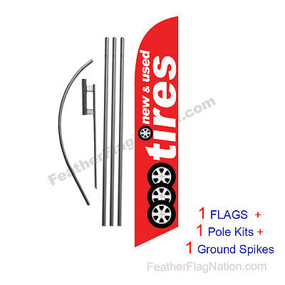 New and Used Tires (red) 15' Feather Banner Swooper Flag Kit with pole+spike