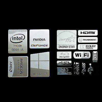 Haswell Intel Core i5 Logo Metal Decal Sticker Energy star Windows8 (combo E)