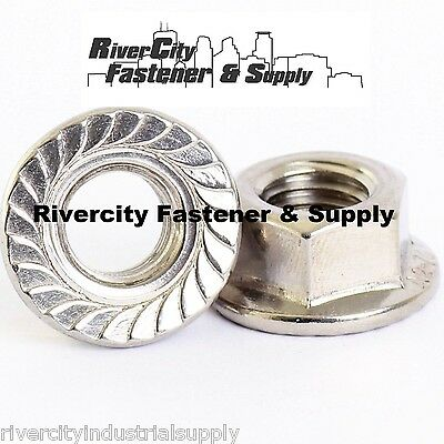 (100) M6-1.0 or 6mm x 1.0 A2 Stainless Serrated Flange Lock Nut Spin Wiz Nuts