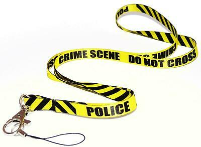 POLICE CRIME SCENE YELLOW QUALITY LANYARD NECK STRAP Ideal for MOBILE ID KEY MP3