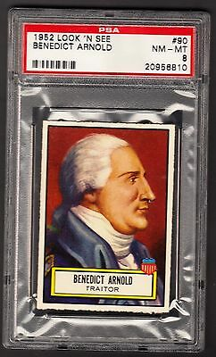 1952 TOPPS LOOK N SEE #90 BENEDICT ARNOLD PSA 8 NM-MT ONLY 1 HIGHER TRAITOR HTF!