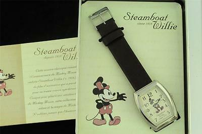 Retro New Old Stock Steamboat Willie Mickey Mouse Wristwatch With Box