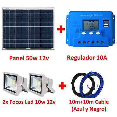 Super Kit Iluminación Solar: Placa Panel 50w + Regulador 10A + 2 Focos Led+Cable