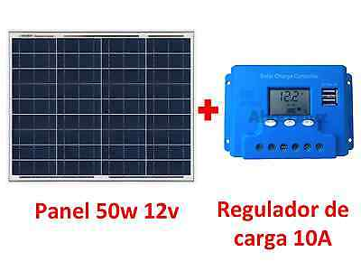 Kit Placa Panel Solar 50w + Regulador 10A 12v/24v Regulator