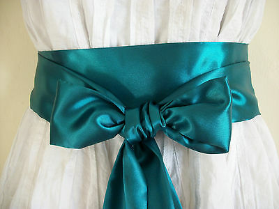"New 2.5""x100"" Dark Hunter Green Satin Fabric Sash Self Tie Bow Belt Update Dress"
