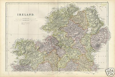 Large Antique Map of IRELAND North 1886 Blackie's Atlas