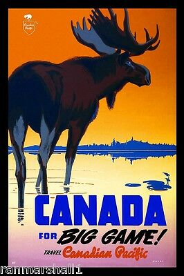 Big Game Moose Pacific Vintage Canada Canadian Travel Advertisement Poster