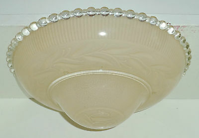 Antique Vintage LIght Tan Leaf Pattern Candlewick 3 Chain Light Fixture Cover