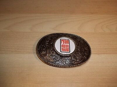 "Vintage Silver Toned Western ""Ryan"" Metal Belt Buckle Construction Homes Logo"