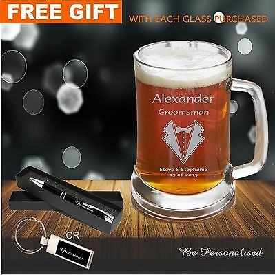 Personalised Engraved 500ml Beer Mug Tankard Glass Wedding Favour Bomboniere