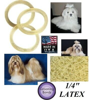 """500 pc 1/4""""Latex Rubber&Rosin DOG PET Grooming HAIR BAND for Ribbon Bow Top Knot"""