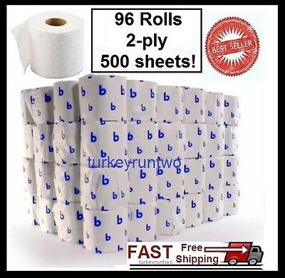 Wholesale Case 96 Rolls Bathroom Tissue Toilet Paper White New 2 Ply 500 Sheets