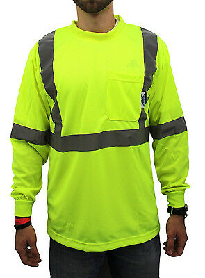 Large/ Class 2 Max-dry Moisture Wicking Mesh Long Sleeve Safety T-shirt,