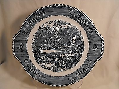 "Royal China  USA Currier & Ives  Blue  Cake Plate Platter ""The Rocky Mountains"""