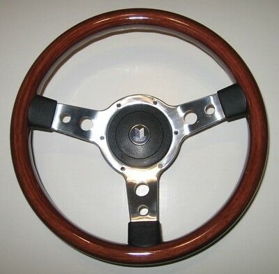 """New 13"""" Wood Steering Wheel and Hub Adaptor Triumph TR4 TR250 TR6 Made in the UK"""