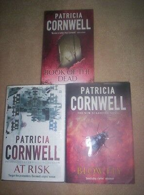 3 x Patricia Cornwell Hard Cover Books: Blow Fly, Book of The Dead & At Risk