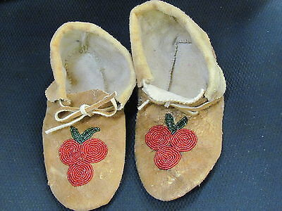 9 Inches Long  Beaded Moccasins  Home Tanned Moose Hide Red Flower Vamp Cozy